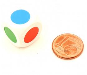 Dé bois 3 points couleurs 16 mm rouge, vert, bleu, rouge, vert, bleu