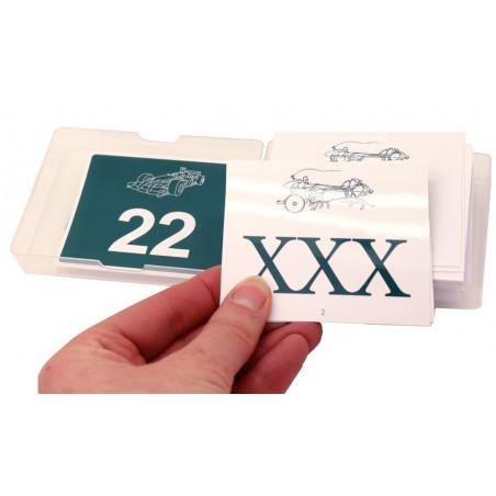 20 cartes nombres entre 20 à 100 + chiffres romains au verso