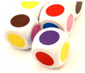 Grand Dé 30 mm 6 points couleurs brun rouge jaune bleu rose et violet