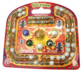 Billes assorties de jeu - 90 pièces : 84 billes + 5 calots + 1 boulet
