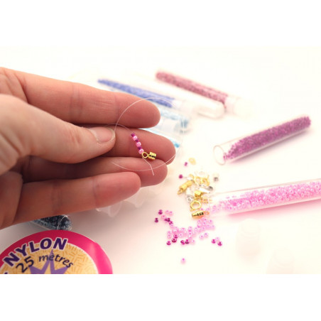 Mini perles rocailles - 15 tubes de couleurs + apprêts