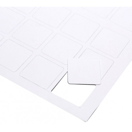 24 cartes jetons blancs à imprimer 40 x 40 mm sur feuille prédécoupée