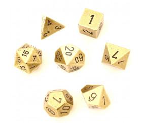 7 Dés métal multifaces dorés