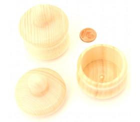 Petite boite ronde bois avec couvercle : 45 mm de diamètre