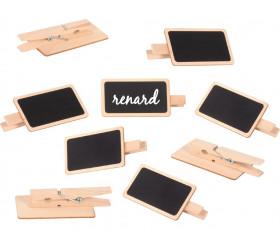 12 Mini ardoises clips pinces 7 x 4 cm