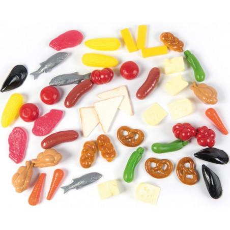 48 jouets aliments plastique : fruits, légumes, viande, poisson jouet