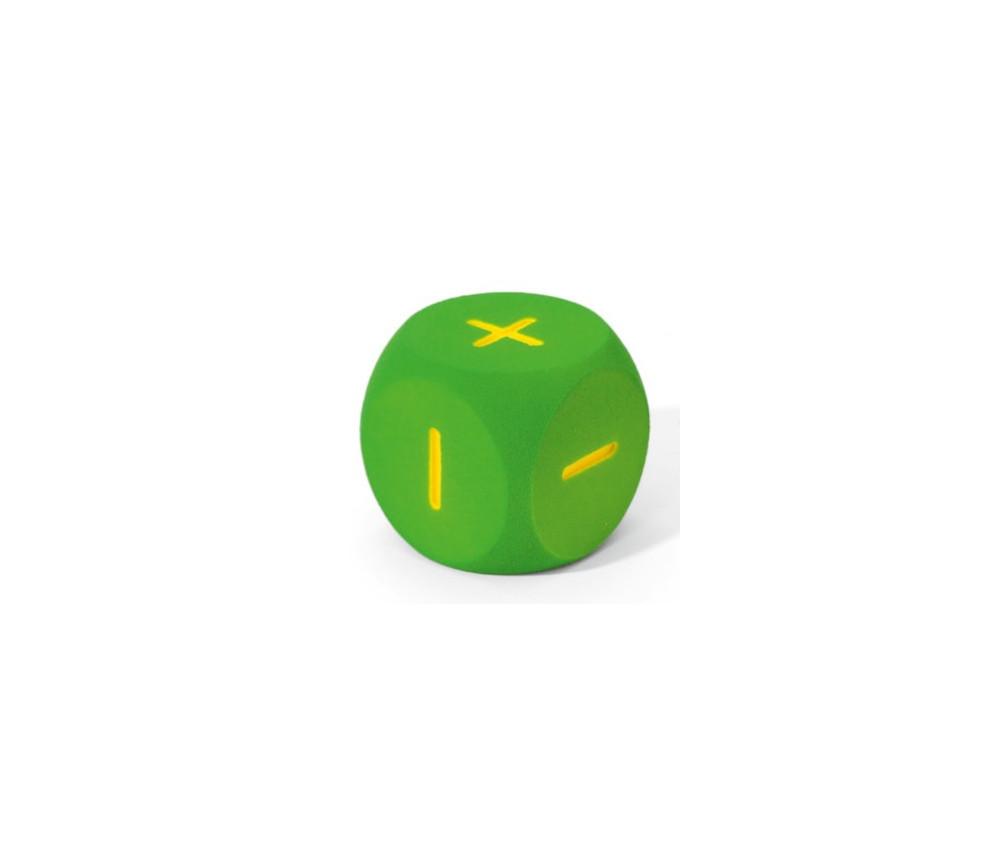 Dé géant 16 cm en mousse tactile vert symboles +++---