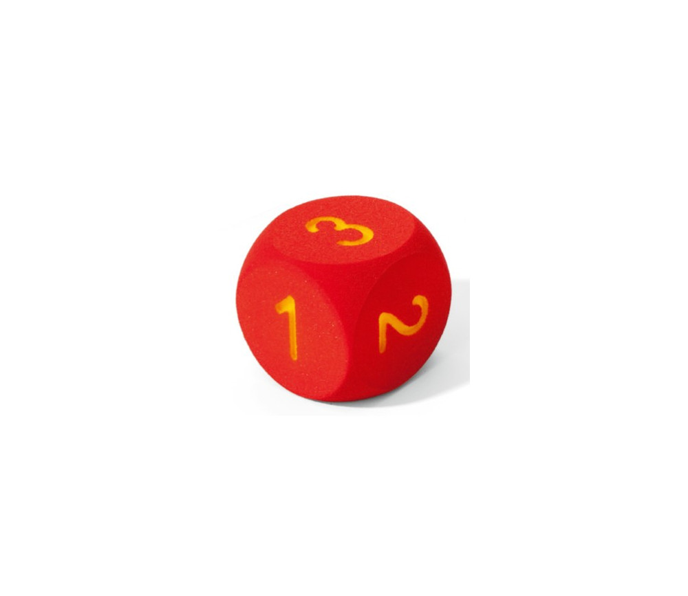 Dé géant 16 cm en mousse tactile ROUGE chiffres de 1 à 6