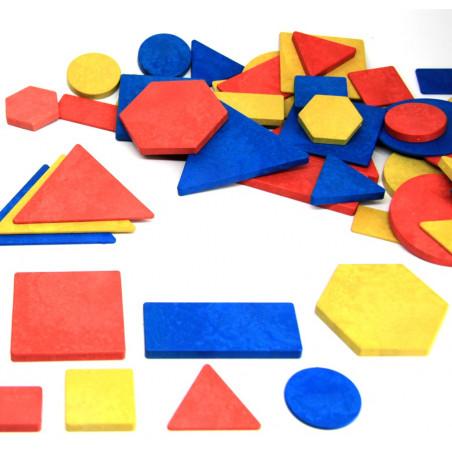 Blocs logiques : 60 formes géométriques bois recyclé. Epaisseur, taille et couleur. 4 attributs