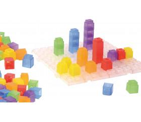 100 cubes encastrables pour jeux 2 cm + 1 plaque 20 cm