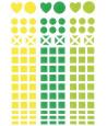 Mini autocollants stickers mosaiques  vert, jaune et vert clair