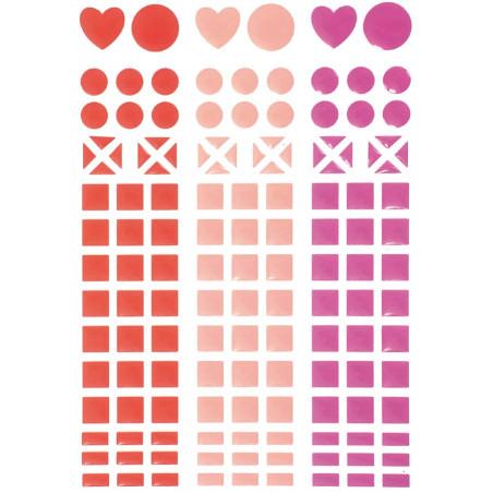 Mini autocollants stickers mosaiques rouge, rose et rose pâle