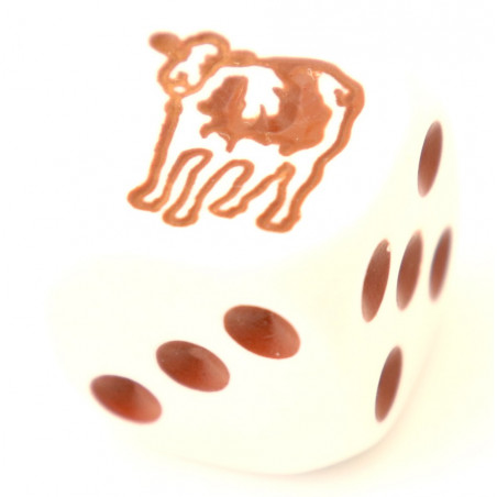Dé spécial vache marron 23456 taille 16 mm