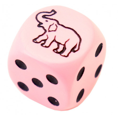 Dé rose éléphant 23456 taille 16 mm