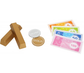 Coffre fort en bois avec argent factice