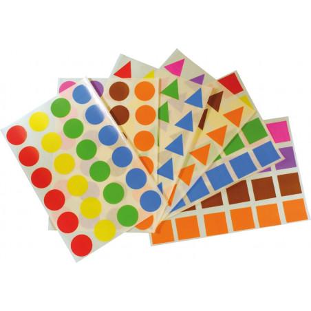 144 autocollants grosses formes géométriques : rond, triangle, carré