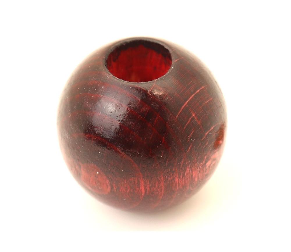 Perle 30 mm trouée bois trou 10 mm boule vernie marron macramé