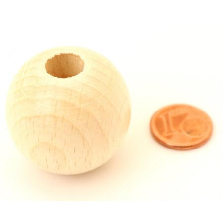 Perle 30 mm trouée bois trou 10 mm boule vernie blanchie macramé