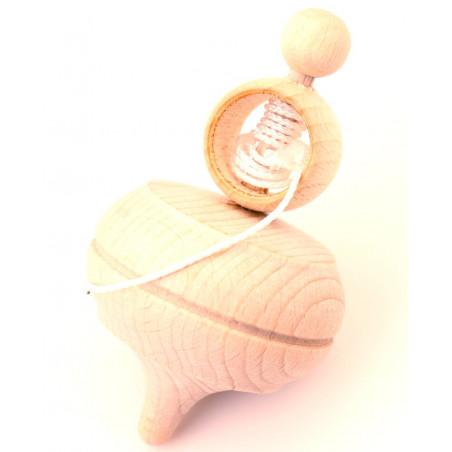 Grosse toupie bois brut avec lanceur ficelle 10.7 cm