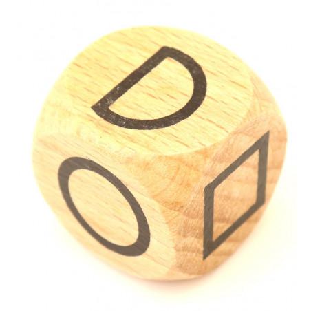 Dé bois 3 cm formes géométriques