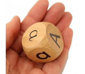 Dé bois écriture Majuscule Minuscule cursive 3 cm