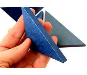 Triangle rectangle isocèle bleu 96 x 66 x 6 mm en bois