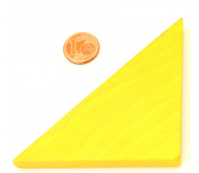 Triangle rectangle isocèle jaune 96 x 66 x 8 mm en bois