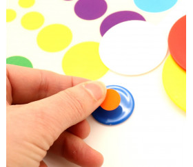 80 autocollants ronds de 1.3 cm à 3.6 cm en 8 couleurs