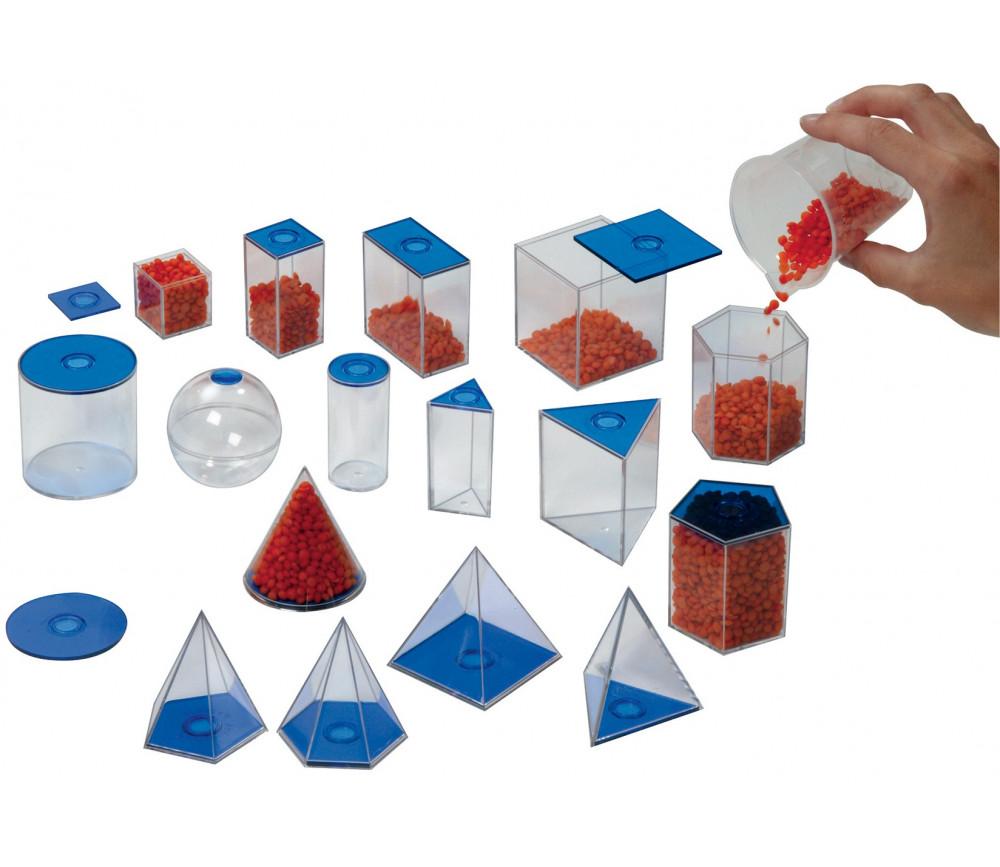 17 volumes géométriques plastique translucide 6 cm - Solides à remplir