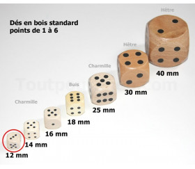 Dés bois 12 mm en charmille de 1 à 6 pour jeu de société