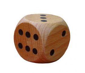 Dé géant classique en bois 40 mm de 1 à 6 pour jeu de société