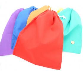 Sac tissu orange 25 x 20 cm coton pour petits accessoires