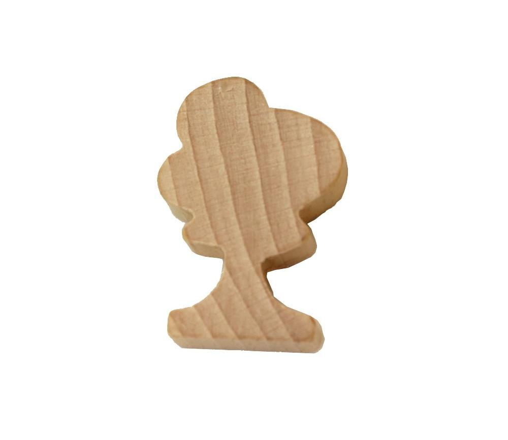 Pion arbre en bois naturel miniature 36x25x10 mm
