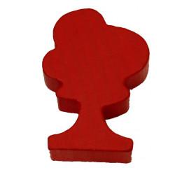 Pion arbre rouge en bois 36x25x10 mm