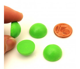 Demi-Boule dôme bois 15 mm diamètre vert clair