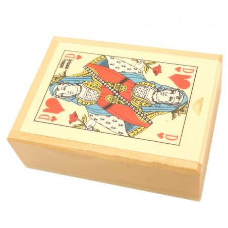 Coffret bois belote avec jeu cartes sans jetons