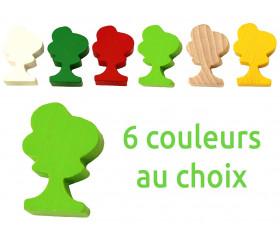 Pion arbre coloré en bois 36x25x10 mm