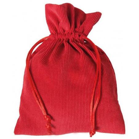 Sac 13 x 18 cm - velours épais rouge avec cordon