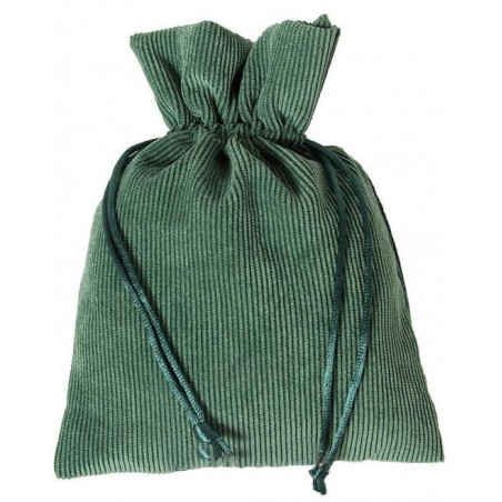 Sac 13 x 18 cm - velours épais vert avec cordon