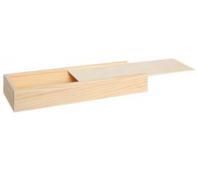 Coffret bois M+ long glissière 26.5 x 10.5 x 7 cm