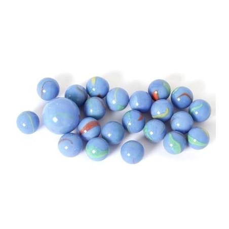20 Billes bleu 16 mm+ 1 calot pour jeu