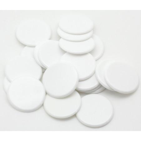 Jetons jeu  blanc ronds 30 mm de diamètre plastique plat