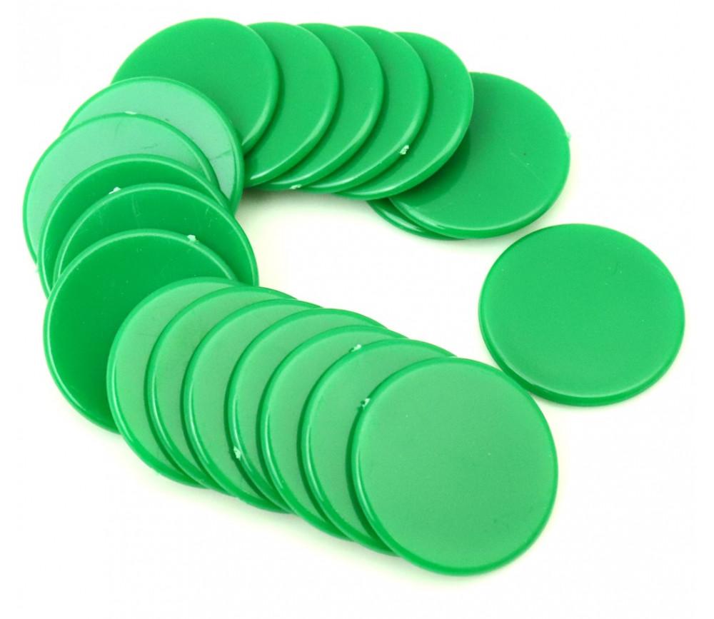Lot 20 Jetons ronds vert 25 mm de diamètre en plastique plat
