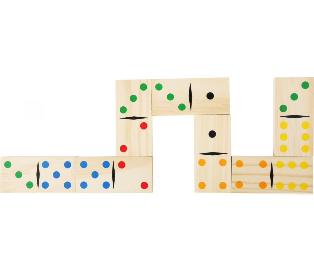 Jeu Dominos en bois maxi 9.5 x 4.5 cm points colorés