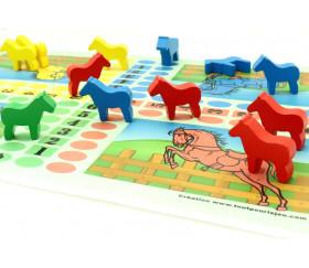 16 petits chevaux sur patte en bois - pions de jeux
