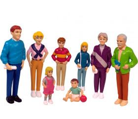Famille européenne : 8 personnages de jeu très réalistes grand modèle 14 cm