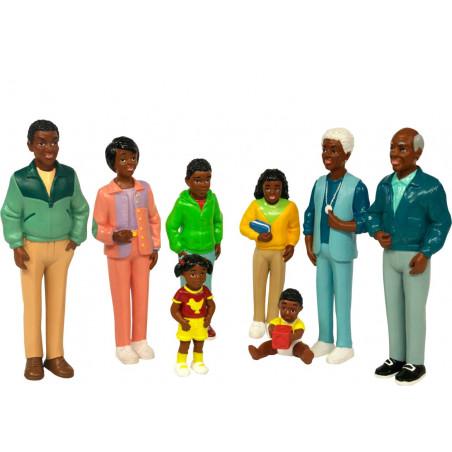 Famille africaine : 8 personnages de jeu très réalistes grand modèle 14 cm