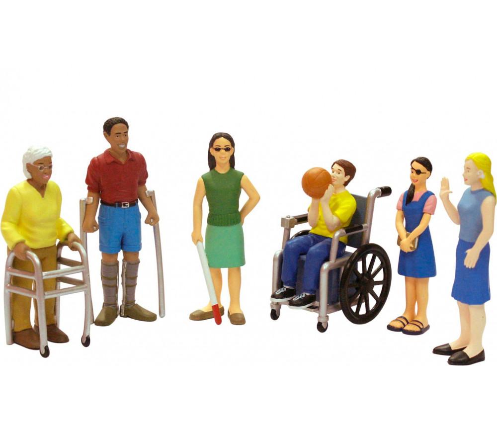 Famille Handicap : 8 personnages figurines du monde - grand modèle