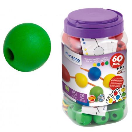 Boite 60 perles rondes colorées 35 mm de diamètre