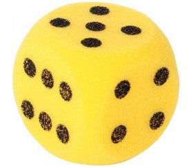 Grand dé en mousse 7 cm pour jeu coloré jaune
